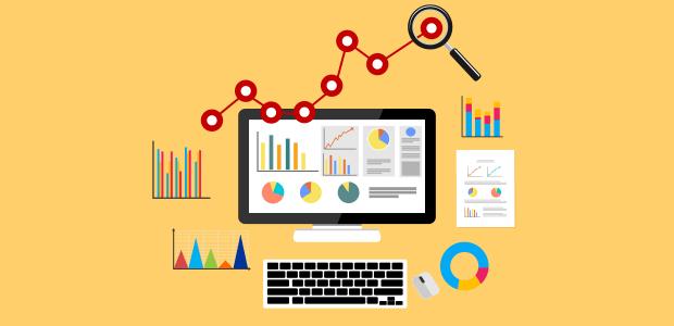 מסך מחשב המראה סטטיסטיקות של מידע בצורת גרפים כמו ב- Google Analytics ומסביבו גרפים שונים, מקלדת ועכבר והכל על רקע צהוב