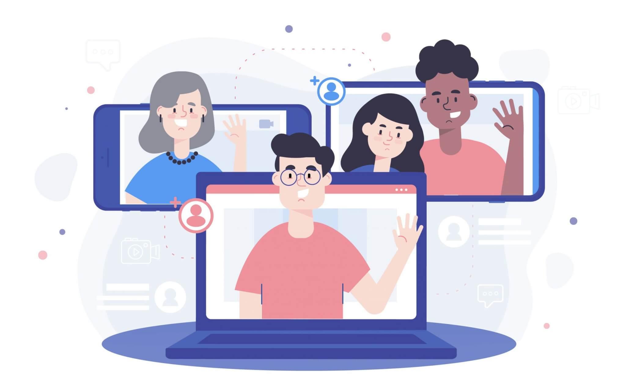 אנשים מציצים מהמכשירים שלהם - טאבלט, טלפון ומחשב נייד המראה על אסטרטגיית השיווק ל2020