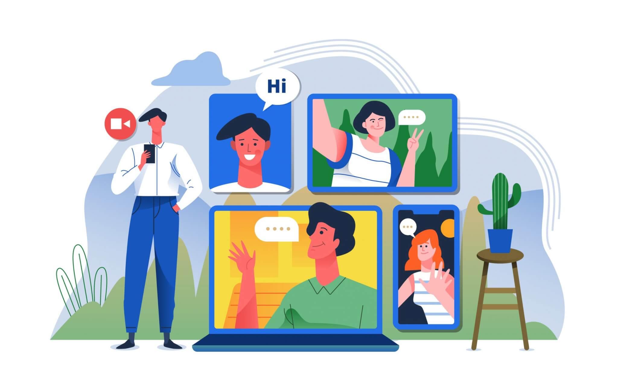 ציור של אנשים המופיעים בגאדג'טים - מחשב נייד, נייד, טאבלט ואיש עומד ליד המראה על אסטרטגיית השיווק ל2020