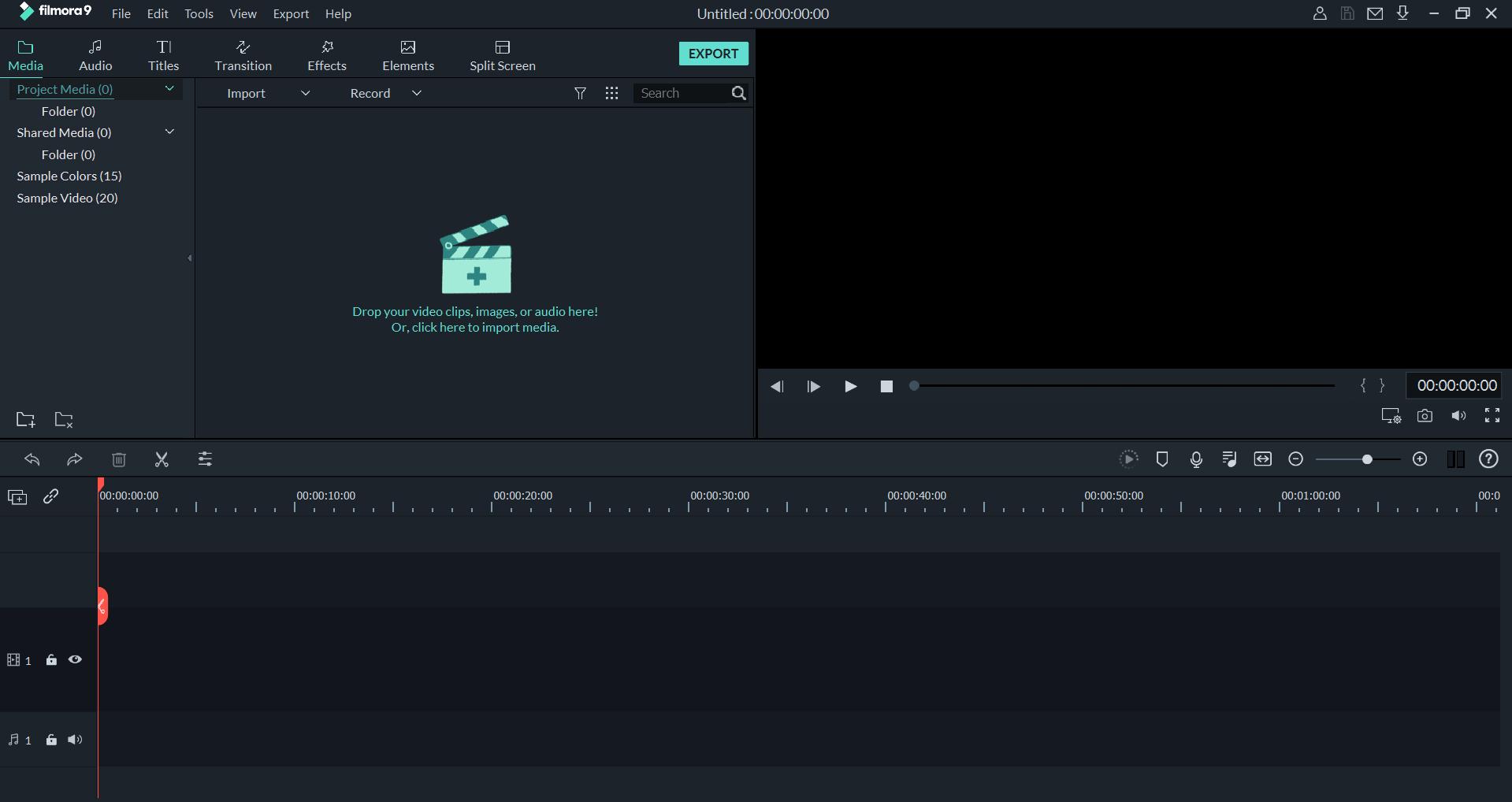 הממשק של תוכנת העריכה של פילמורה (Filmora) כאשר מתחילים פרויקט חדש במערכת